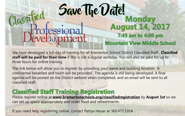 save the date classified summer professional development