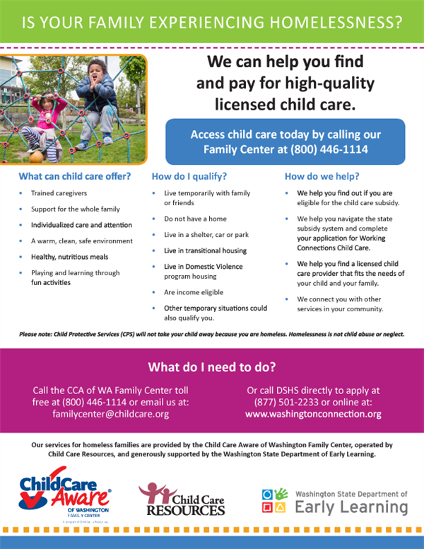 Child Care Aware: Helping Families Experiencing Homelessness Find Free or Low-Cost Quality Childcare