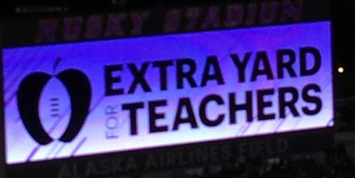 Extra Yard for Teachers scoreboard recognition
