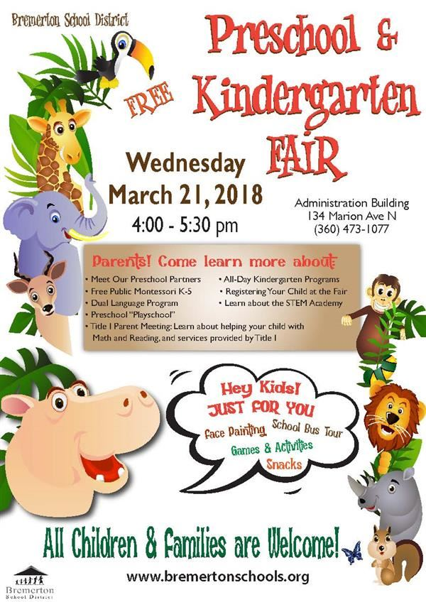Kindergarten Fair, March 29th, 4-5:30 pm, Admin Bldg