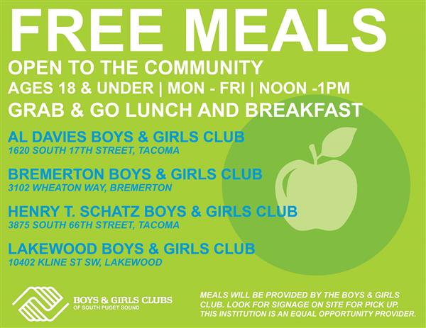 Free meals at Bremerton Boys & Girls Club M-F, 12-1pm