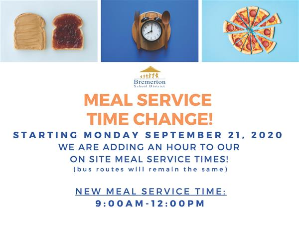 new meal distribution time starting 9/21:  9a - 12 noon