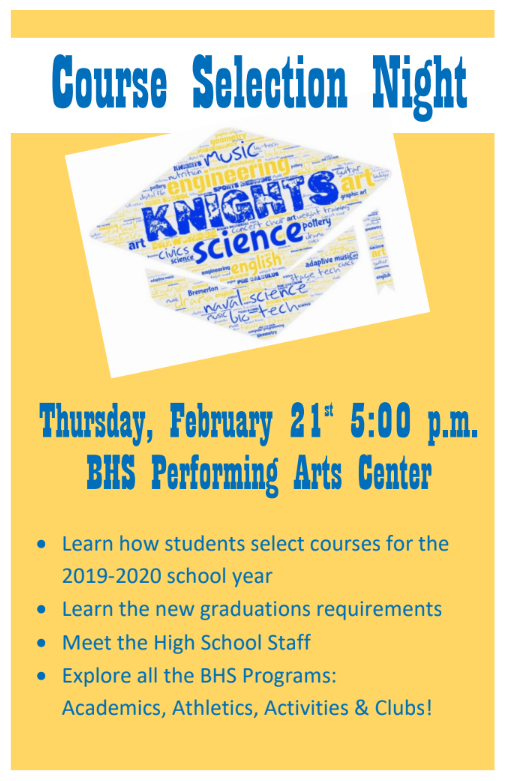 Course Selection Night - Feb. 21st @5 p.m.